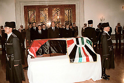 French president Jacques Chirac (center) seen during King Hussein's funeral at the Royal palace in Amman, Jordan on February 8, 1999. Twenty years ago, end of January and early February 1999, the Kingdom of Jordan witnessed a change of power as the late King Hussein came back from the United States of America to change his Crown Prince, only two weeks before he passed away. Photo by Balkis Press/ABACAPRESS.COM