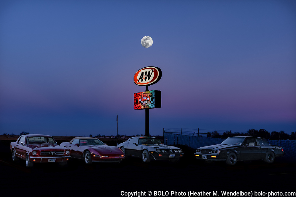 Full Moon Float  <br /> 2019: A&W in Eaton, Colorado   <br /> $388 Original Aluminum Gallery Print 24x36 <br /> $71 Limited Edition of 11 Kodak Endura Metallic Photographic Prints (8x12)