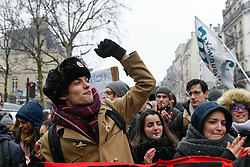 February 6, 2018 - Paris, France - Protesters hold a banner as they take part in a demonstration against a French government's proposed reform of university applications and a project to reform the French baccalaureate high school exit exam on February 6, 2018, in Paris. (Credit Image: © Julien Mattia/NurPhoto via ZUMA Press)