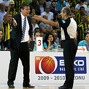 Referee's Recep ANKARALI (R) and Efes Pilsen's coach Ergin ATAMAN (L) during their Turkish Basketball league Play Off Final Sixth Leg match Fenerbahce Ulker between Efes Pilsen at the Abdi Ipekci Arena in Istanbul Turkey on Wednesday 02 June 2010. Photo by Aykut AKICI/TURKPIX