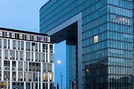 the office building BF 10 and the Crane House South in the Rheinau harbour, moon, Cologne, Germany.<br /> <br /> das Buerogebaeude BF 10 und das Kranhaus Sued im Rheinauhafen, Mond, Koeln, Deutschland.