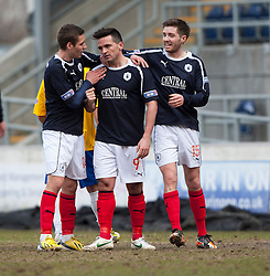 Falkirk's Sean Higgins cele scoring their third goal..Falkirk 4 v 0 Cowdenbeath, 6/4/2013..©Michael Schofield..