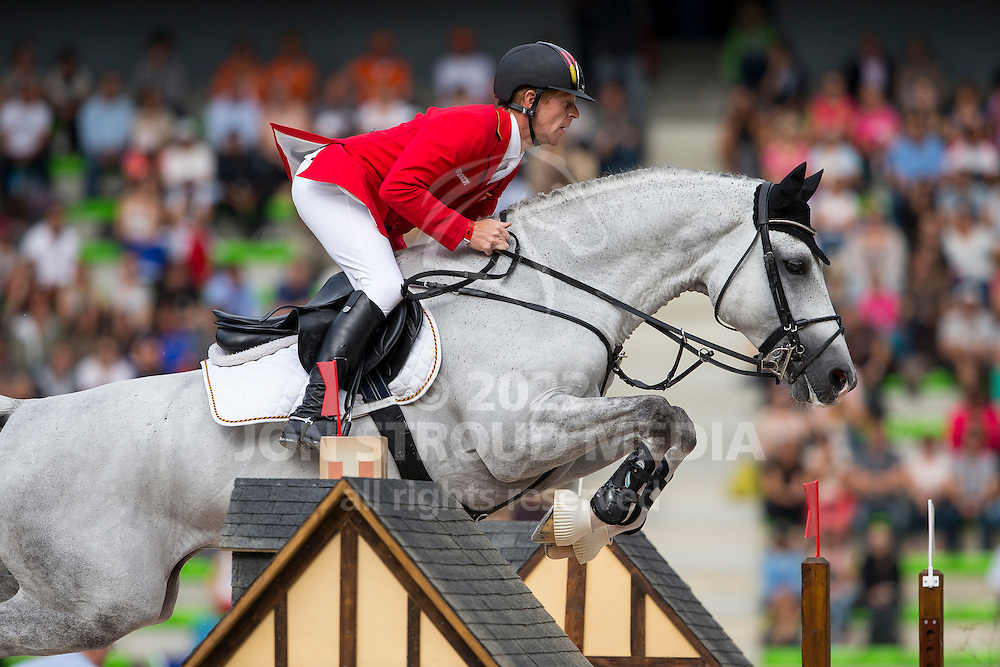 Marcus Ehning, (GER), Cornado NRW - Team & Individual Competition Jumping Speed - Alltech FEI World Equestrian Games™ 2014 - Normandy, France.<br /> © Hippo Foto Team - Leanjo De Koster<br /> 02-09-14