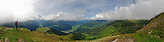 Panoramic view Zillertal, Tyrol, Austria hiker on the scenic trail