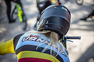 Elke Vanhoof at round 8 of the 2018 UCI BMX Supercross World Cup in Santiago del Estero, Argentina.