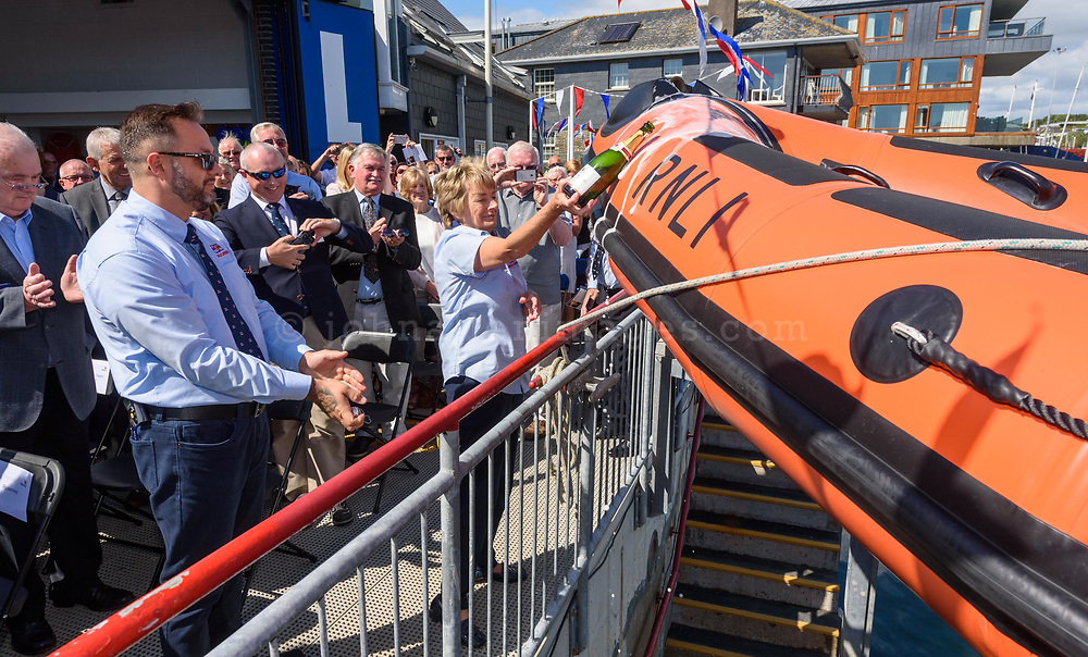 Valerie Good, chair of the Kinsale RNLI fundraising team names the lifeboat at the naming ceremony and service of dedication to the new B-Class lifeboat B-909 Miss Sally Anne Baggy II at Kinsale Lifeboat station on Saturday.<br /> Picture. John Allen
