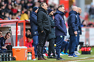 Forest Green Rovers manager, Mark Cooper watches on during the EFL Sky Bet League 2 match between Stevenage and Forest Green Rovers at the Lamex Stadium, Stevenage, England on 26 January 2019.