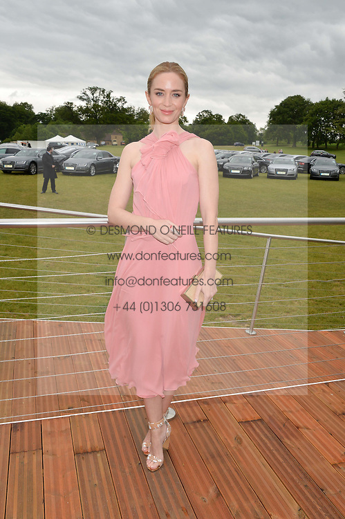 EMILY BLUNT at the Audi Polo Challenge at Coworth Park, Blacknest Road, Ascot, Berkshire on 31st May 2015.