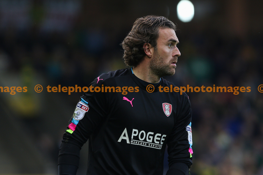 Lee Camp of Rotheram United during the Sky Bet Championship match between Norwich City and Rotherham United at Carrow Road in Norwich. October 15, 2016.<br /> Arron Gent / Telephoto Images<br /> +44 7967 642437
