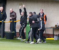 Alloa Athletic's manager Barry Smith after Edward Ferns scored their first goal.<br /> Alloa Athletic 3 v 0 Falkirk, Scottish Championship game played today at Alloa Athletic's home ground, Recreation Park.<br /> © Michael Schofield.