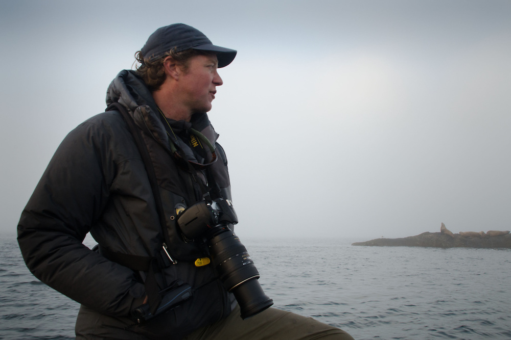 Captain Greg Shea surveys Steller Sea Lions on the Bell Islands Chain, Gulf Islands National Park Reserve, British Columbia, Canada