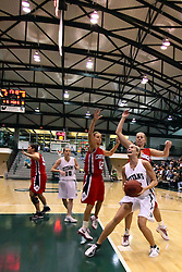 10 January 2009: Hope Schulte slows to pull a fake shot on the Lady REd defenders. The Illinois Wesleyan Titans, ranked #1 in the latest USA Today/ESPN poll, take down the Lady Reds of Carthage and remain undefeated,  2-0 in the CCIW and over all to 12-0. This is the first time in the history of the Lady Titans Basketball they have been ranked #1 The Titans and Lady Reds played in the Shirk Center on the Illinois Wesleyan Campus in Bloomington Illinois.