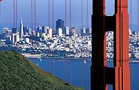 Scenic of Golden Gate Bridge as seen from the Marin Headlands. San Francisco, California.