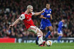 Shkodran Mustafi of Arsenal passes the ball - Mandatory by-line: Arron Gent/JMP - 27/02/2020 - FOOTBALL - Emirates Stadium - London, England - Arsenal v Olympiacos - UEFA Europa League Round of 32 second leg