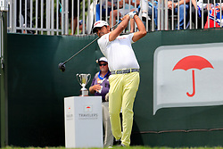 June 24, 2018 - Cromwell, CT, U.S. - CROMWELL, CT - JUNE 24: Anirban Lahiri of India hits from the 1st tee during the Final Round of the Travelers Championship on June 24, 2018 at TPC River Highlands in Cromwell, Connecticut. (Photo by Fred Kfoury III/Icon Sportswire) (Credit Image: © Fred Kfoury Iii/Icon SMI via ZUMA Press)
