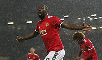 Romelu Lukaku of Manchester United ManU celebrates after scoring the second goal during the Champions League Group A match at the Old Trafford Stadium, Manchester. Picture date: September 12th 2017.<br /> <br /> Norway only