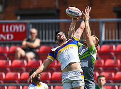 Whitehavens' David Thompson contests the hi ball<br /> <br /> Photographer Craig Thomas/Replay Images<br /> <br /> Betfred League 1 - West Wales Raiders v Whitehaven  - Saturday 23rd June 2018 - Stebonheath Park - Llanelli<br /> <br /> World Copyright © 2017 Replay Images. All rights reserved. info@replayimages.co.uk - www.replayimages.co.uk