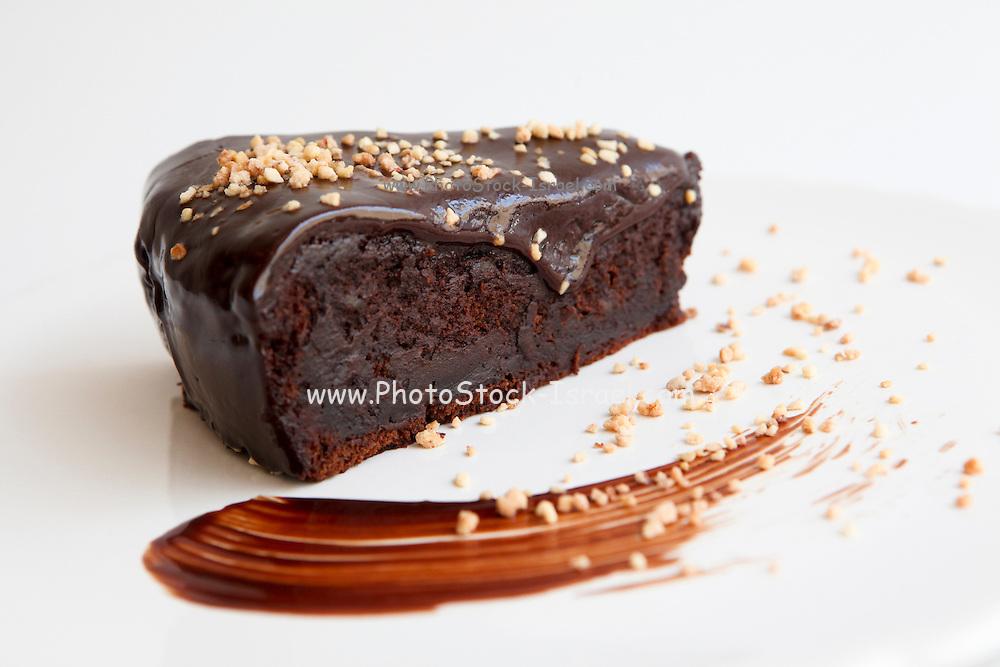 Sticky chocolate fudge cake with ground nuts