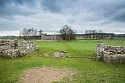 view of the Hadrian's wall near Brampton. rest of the Birdoswald Roman Fort.