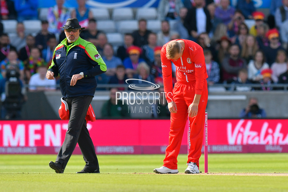 Liam Livingstone of Lancashire reacts after being hit to all corners of the ground by Moeen Ali of Worcestershire lduring the Vitality T20 Finals Day Semi Final 2018 match between Worcestershire Rapids and Lancashire Lightning at Edgbaston, Birmingham, United Kingdom on 15 September 2018.