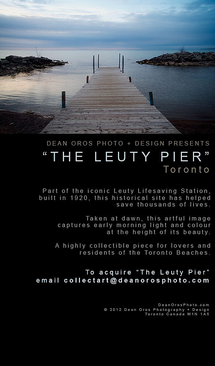 """Dean Oros Photo + Design presents """"The Leuty Pier"""".<br /> <br /> Since it was built in 1920 by Chapman and Oxley architects, the Leuty Lifeguard Station has helped to save thousands of lives. Over the years it has been moved four times to keep it close to Lake Ontario's edge. During the 1980's the Leuty had fallen into disrepair and was threatened with demolition. Local residents formed S.O.S. (Save Our Station), and enough money was raised to restore the structure. It has since been declared an important historic site by the Toronto (Canada) Historical Board."""