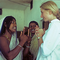 Aid worker Meredith Wiltsie discusses a self-help project at Mirpur Destitute Camp, a living space for Bengali people displaced by a typhoon and brutal war of independence.
