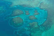Aerial of reefs off Vieques Island, Puerto Rico.