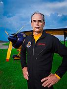 Larry King, aerobatic pilot, A&P, AI, CFI and ICAS member, with his Pitts Model 12.  Shot at LZU, Lawrencevile, Georgia.
