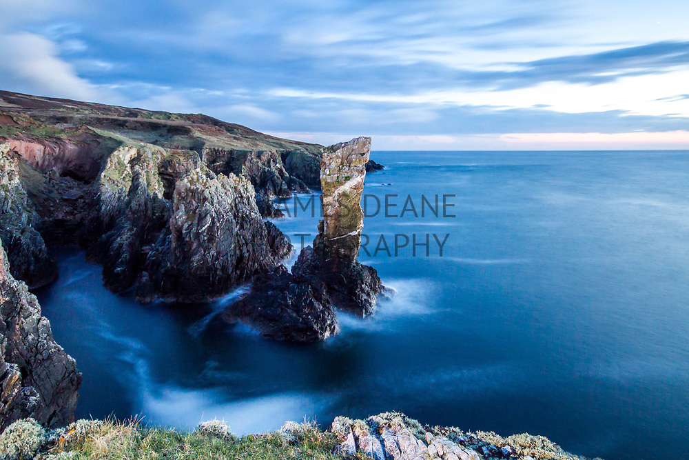 A long exposure in the twilight of Soldiers Rock, Isle of Islay