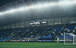 Rain falls at The DW Stadium as the scoreboard shows the final score between Wigan Athletic and Bournemouth as 3-0 - Mandatory by-line: Robbie Stephenson/JMP - 17/01/2018 - FOOTBALL - DW Stadium - Wigan, England - Wigan Athletic v Bournemouth - Emirates FA Cup third round proper