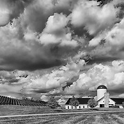 Amazing clouds form a backdrop to the beautiful RDV Vineyards in Loudon County, Virginia.