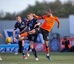 Falkirk's Scott Harrison and Dundee United's Pavol Safranko. half time : Falkirk 0 v o Dundee United, Scottish Championship game played 22/9/2018 at The Falkirk Stadium.