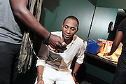 October 27, 2012-New York, NY: Recording Artist/Actor Mos Def aka Yasiin Bey backstage at House of Blues on October 27, 2012 in Atlantic City, New Jersey. Black Star arose from the underground movement of the late 1990s, which was in large part due to Rawkus Records, an independent record label stationed in New York City. They released one album, Mos Def & Talib Kweli Are Black Star on August 26, 1998. (Terrence Jennings)