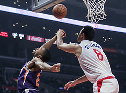 November 28, 2018 - Los Angeles, California, U.S - Deandre Ayton #22 of the Phoenix Suns is fouled by Danilo Gallinari #8 of the Los  Angeles Clippers during their NBA game on Wednesday November 28, 2018 at the  Staples Center in Los Angeles, California. Clippers defeat Suns, 115-99. JAVIER  ROJAS/PI (Credit Image: © Prensa Internacional via ZUMA Wire)