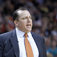 29 January 2012: Chicago Bulls head coach Tom Thibodeau reacts during the Miami Heat 97-93 victory over the Chicago Bulls at the AmericanAirlines Arena, Miami, Florida, USA.