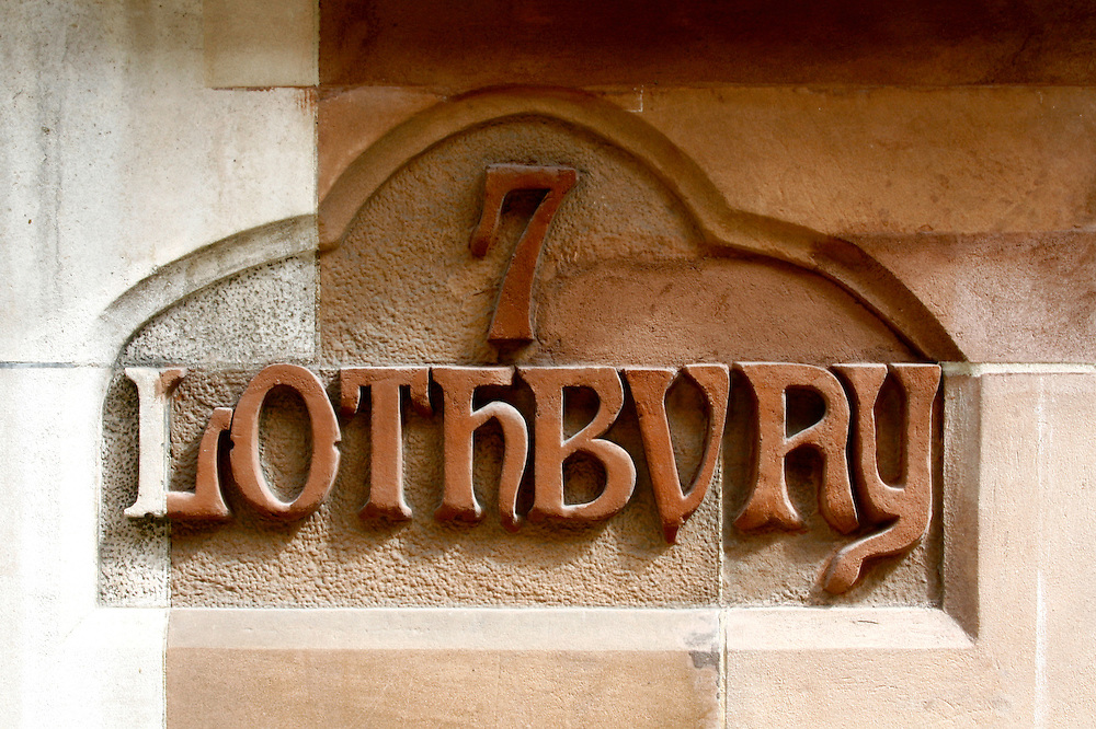 Old sign at 7 Lothbury, City of London