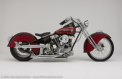 """Fendered Panhead with a stock H-D Panhead that was rebuilt in-house and put into a 7/8-inch chrome-moly Jim Davis rigid frame. Steel fenders hand made by Bob Munroe, and paintjob by Arlen with finish graphics by Jeff McCann. Built in 1983.<br /> <br /> Appears in the Arlen Ness book """"The King of Choppers,"""" by Michael Lichter and Arlen Ness."""