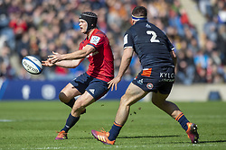 March 30, 2019 - Edinburgh, Scotland, United Kingdom - Tyler Bleyendaal of Munster and Styart McInally of Edinburgh during the Heineken Champions Cup Quarter Final match between Edinburgh Rugby and Munster Rugby at Murrayfield Stadium in Edinburgh, Scotland, United Kingdom on March 30, 2019  (Credit Image: © Andrew Surma/NurPhoto via ZUMA Press)
