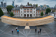 The Smile, a landmark project for the London Design Festival designed by architect Alison Brooks and the engineer was ARUP. It will be on show outside the Chelsea College of art from 17 September – 12 October. Measuring 34m in length, the curved form is a 'bold and exciting' experiment in wood engineering and in design being made from cross-laminated timber (CLT) in tulipwood, it has been initiated by The American Hardwood Export Council (AHEC).