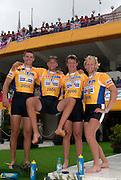 Poznan, POLAND.  2006, FISA, Rowing World Cup, Men's four, Gold Medallist, GRB M4-, Bow Alex PARTRIDGE, Steve  WILLIAMS, Peter REED, Andy TWIGGS HODGE,  'Malta Regatta course;  Poznan POLAND, Sat. 17.06.2006. © Peter Spurrier   ....[Mandatory Credit Peter Spurrier/ Intersport Images] Rowing Course:Malta Rowing Course, Poznan, POLAND