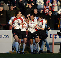 Photo: Jed Wee.<br /> Clyde v Glasgow Celtic. Scottish Cup. 08/01/2006.<br /> <br /> Clyde celebrate their second goal.