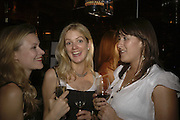 Hermione Ayre, Marianne Blamire and Sarah Miller. publication party for Bill Buford and his memoir HEAT. Hosted by Marco Pierre White at 'Frankie's. Knightsbridge. 10 July 2006. ONE TIME USE ONLY - DO NOT ARCHIVE  © Copyright Photograph by Dafydd Jones 66 Stockwell Park Rd. London SW9 0DA Tel 020 7733 0108 www.dafjones.com