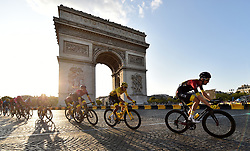 Team Ineos Egan Bernal cycles past the Arc De Triomphe during stage 21 of the Tour de France during stage 21 of the Tour de France.