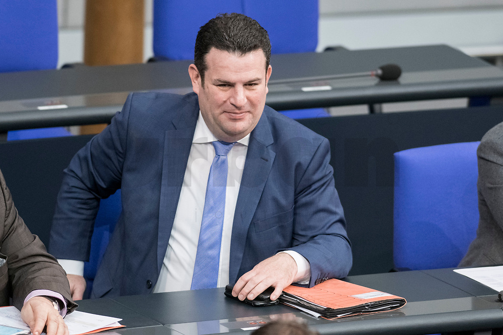 14 FEB 2019, BERLIN/GERMANY:<br /> Hubertus Heil, MdB, SPD, Bundesarbeitsminister, Bundestagsdebatte, Plenum, Deutscher Bundestag<br /> IMAGE: 20190214-01-015<br /> KEYWORDS: Bundestag, Debatte