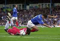 Picture: Henry Browne.<br />Date: 04/10/2003.<br />Portsmouth v Charlton Athletic FA Barclaycard Premiership.<br /><br />Dejan Stefanovic takes down Kevin Lisbie in the area but to no avail