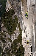Madaleine Sorkin<br /> freeing the 1st Zig Zag, (VI 5.12), Half Dome, Yosemite