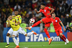 Colombia's Santiago Arias and England's Jesse Lingard during the 1/8 final game between Colombia and England at the 2018 FIFA World Cup in Moscow, Russia on July 3, 2018. Photo by Lionel Hahn/ABACAPRESS.COM