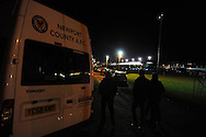 Newport supporters make their way to the match.  FA cup with Budweiser, 1st round replay, Newport county v Braintree Town at Rodney Parade in Newport, South Wales on Tuesday 19th November 2013. pic by Andrew Orchard, Andrew Orchard sports photography,