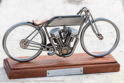 Josh Owens award after winning his race at the Sons of Speed Vintage Motorcycle Races at New Smyrina Speedway. New Smyrna Beach, USA. Saturday, March 9, 2019. Photography ©2019 Michael Lichter.