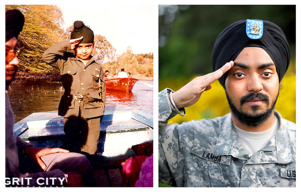 Spc. Simranpreet Singh Lamba wanted to be a Soldier from the time he was a young boy in India. After much persistence and one religious accommodation, Lamba's dreams became a reality as he became the first enlisted Sikh Soldier to join the U.S. Army in nearly 30 years...Photo by Ingrid Barrentine; Childhood photo courtesy of Spc. Simranpreet Singh Lamba